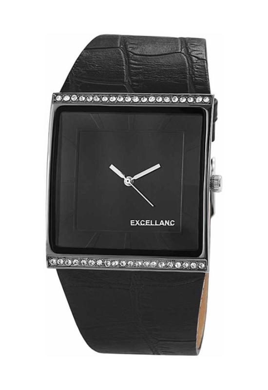 Trendi fekete Excellanc női karóra strasszokkal EX18260TR