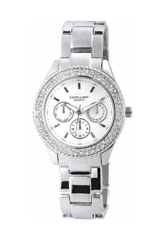 Extravagáns ezüst fémszíjas női karóra strasszokkal EX18274EX