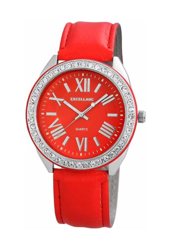 Trendi piros Excellanc női karóra strasszokkal EX18276TR