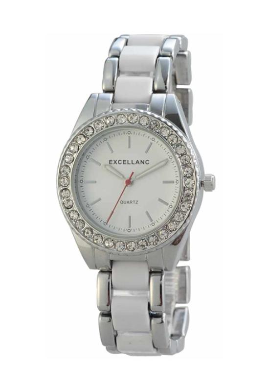 Extravagáns fehér-ezüst női karóra EX18345EX