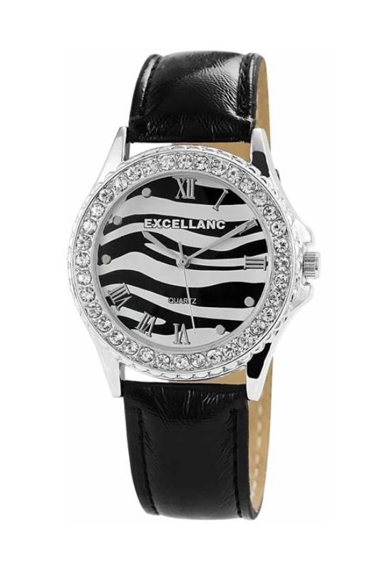 Trendi fekete Excellanc női karóra strasszokkal EX18353TR