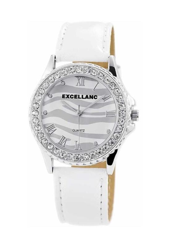 Trendi fehér Excellanc női karóra strasszokkal EX18354TR
