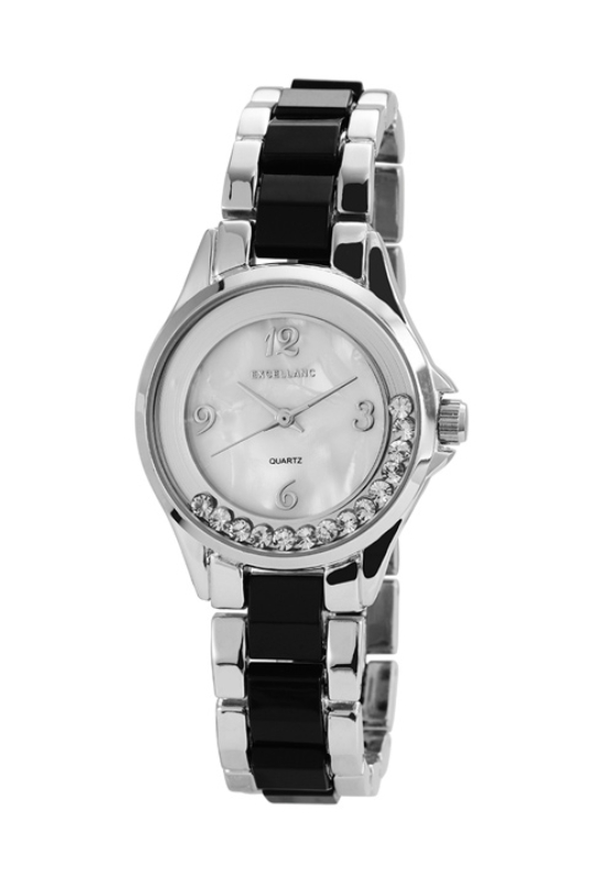 Extravagáns ezüst-fekete fémszíjas női karóra strasszokkal EX18359EX