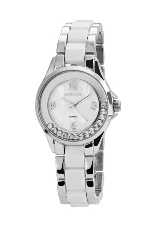 Extravagáns ezüst-fehér fémszíjas női karóra strasszokkal EX18360EX