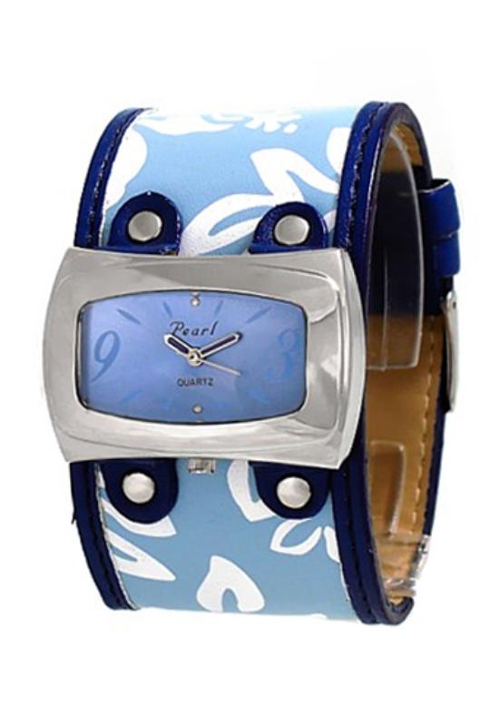 Trendi kék Pearl női karóra virággal PE3711TR