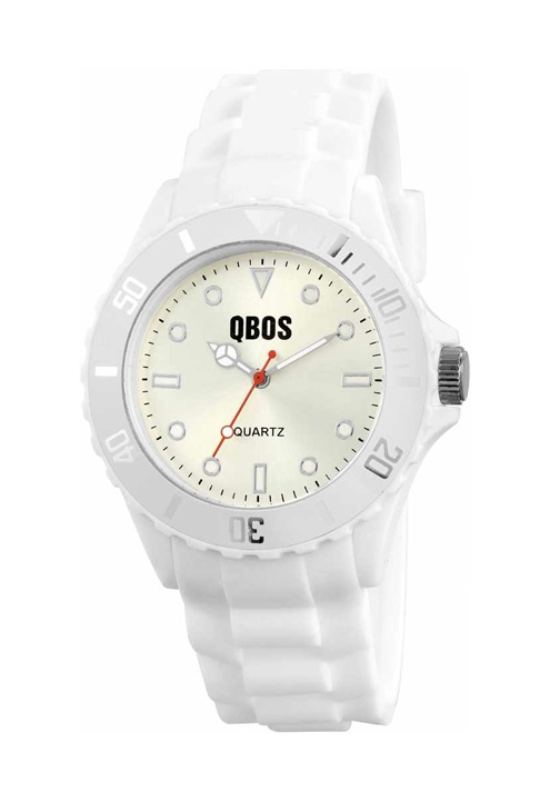 Trendi fehér QBOS szilikon szíjas unisex karóra QB4106TR