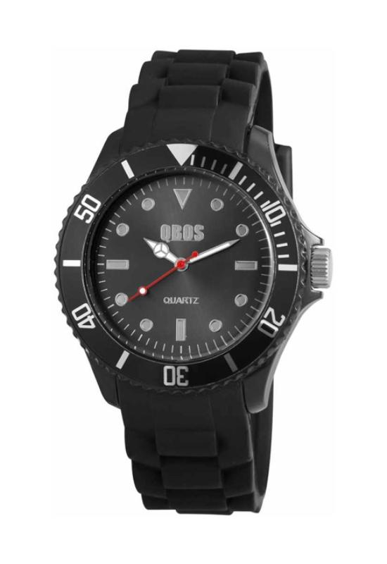 Trendi fekete QBOS szilikon szíjas unisex karóra QB4108TR