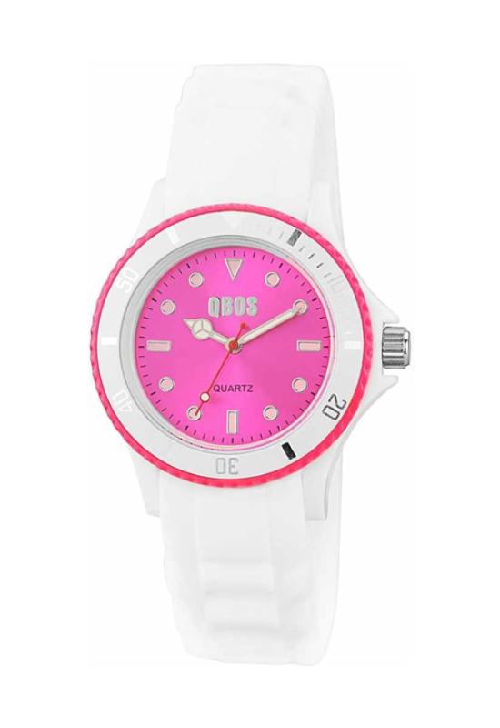 Trendi fehér-pink QBOS szilikon szíjas női karóra QB4109TR