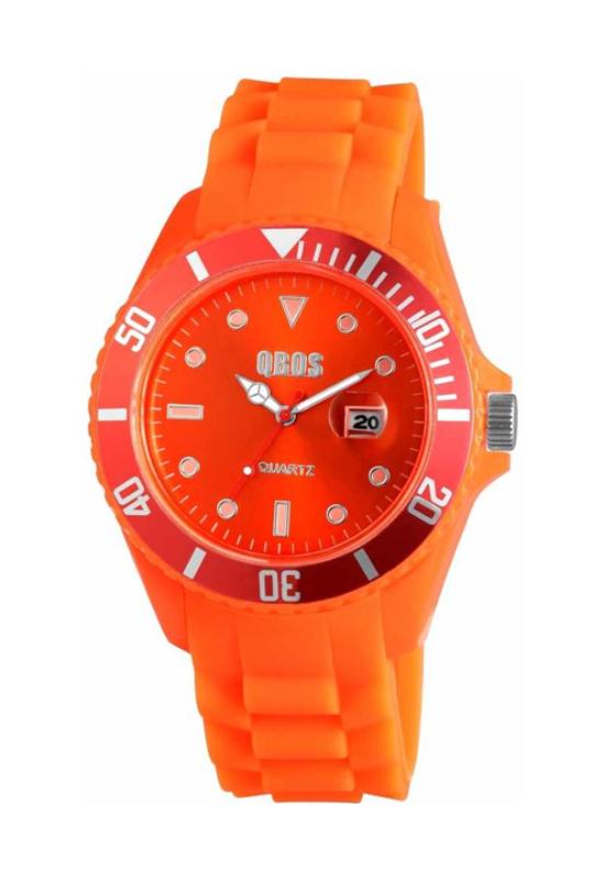 Trendi narancs QBOS szilikon szíjas női karóra QB4110TR