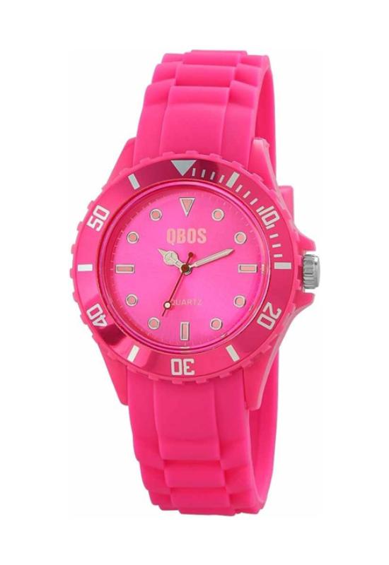 Trendi pink QBOS szilikon szíjas női karóra QB4114TR