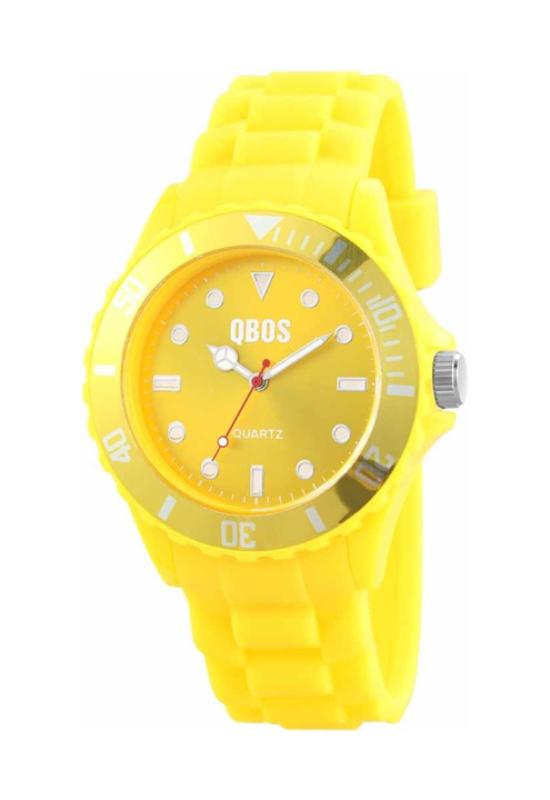 Trendi sárga QBOS szilikon szíjas női karóra QB4120TR